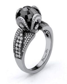 Unique black diamond ring