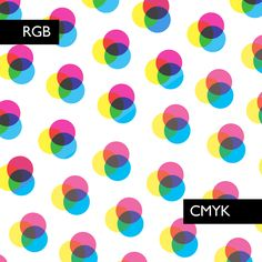 CMYK: cyan, magenta, yellow  black  Used for print   RGB: red, green  blue Used for web