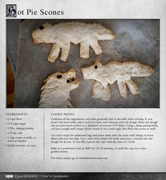 """Again, Hot Pie brings us another tasty recipe!"" MORE RECIPES: http://itsh.bo/LQC1sC #gameofthrones #hotpie #scones #cookies #dessert #food #recipes"