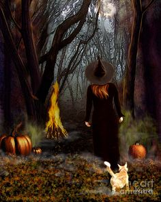 Digital painting for the holiday/sabbet of Samhain or as most now it Halloween. Samhain Halloween, Halloween Art, Holidays Halloween, Vintage Halloween, Happy Halloween, Witch Painting, Witch Art, Witch Pictures, Pictures To Paint