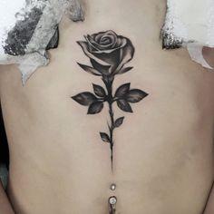 Blackwork Rose on Sternum by Marshall Smith