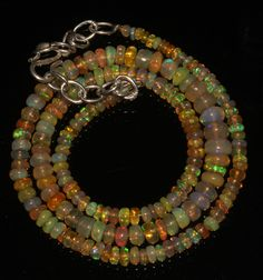 """46 TCW 1 Necklace 2 to 6 mm 16"""" Beads Genuine Ethiopian Welo Fire Opal 9160 #opalinmind"""