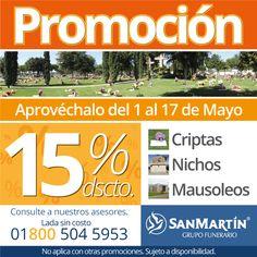 Piensa en previsión, adquiere Plan San Martín. Por tiempo limitado aprovecha el 15% de descuento en criptas, nichos y mausoleos en Parques Funerales San Martín en #Culiacán #Navolato #LosMochis y #Guasave en Sinaloa.