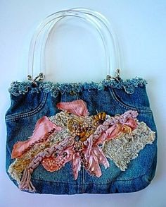 Jeans Purse with Appliques and Beads by FromBrazilToYou on Etsy, $44.00