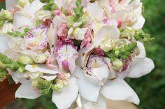 White/Pink Cymbidium Orchids, White Snapdragons Wedding Bouquet