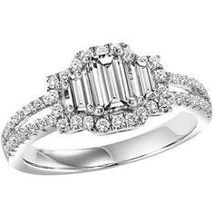 1.17cttw Emerald Cut 3-Stone Plus Diamond Engagement Ring
