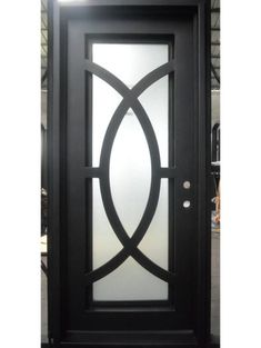 Entry – Wrought iron entry door with privacy glass Main Door Design, Front Door Design, Welcome Signs Front Door, Steel Bed Frame, Wrought Iron Doors, Contemporary Doors, Privacy Glass, Steel Doors, Ceiling Design