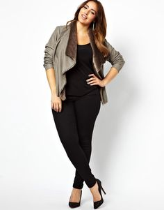 New Look Plus   New Look Inspire Leather Look Fur Lined Waterfall Jacket at ASOS
