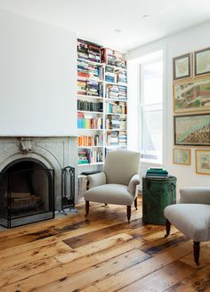 White and wood, natural and clean-looking. Transitional Living Room by Bonaventura Architect