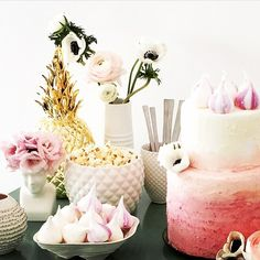 """Who's tried decorating their cakes with meringue kisses? It's a perfect finishing touch. Liking this little set up using ours.  by @chosenwedding @curious_fair with @heystylehire pineapples "" Photo taken by @meringuegirls on Instagram, pinned via the InstaPin iOS App! http://www.instapinapp.com (04/11/2015)"