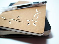 "Moleskine Notebook Journal - Kraft, Small, Plain Pages, Papercut Style: ""Flower Vine Corner"""