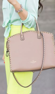 J.Crew Citrus Yellow Pencil Skirt by Pink Peonies and valentino bag ...