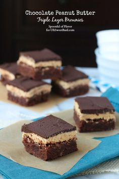 Chocolate Peanut Butter Triple Layer Brownies