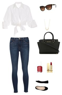 """""""Casual Glam Day"""" by ameliataylor27 on Polyvore featuring Johanna Ortiz, Frame, Bagatt, MICHAEL Michael Kors, Essie, Yves Saint Laurent, Tory Burch and Majorica"""
