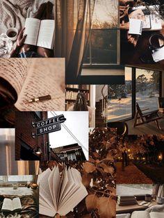 Brown cozy aesthetic collage iPhone wallpaper lockscreen Dinding gambar Kertas dinding Latar belakang