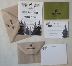 Woodland-Hochzeit-Einladung-Suite von paperfishdesignsLLC auf Etsy