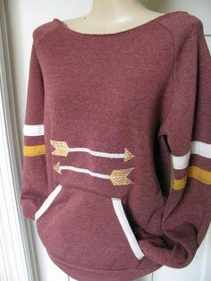 Alternative Apparel Sport Sweatshirt....Arrow Design...Appliqued...Burgandy on Etsy, $40.00