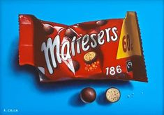 Original oil painting, Bag of Maltesers, still life, framed Realistic Oil Painting, Still Life Oil Painting, Food Painting, Sarah Graham Artist, Chocolate Drawing, Sweets Art, British Chocolate, Sweet Wrappers, Candy Photography
