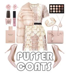 """Puffer Coat Pink"" by indigoizzy247 ❤ liked on Polyvore featuring Off-White, Ralph & Russo, Irene Neuwirth, Gucci, OPI, Yves Saint Laurent, NYX and MAC Cosmetics"