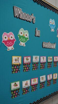 Pre-K Tweets: owl themed center rotation board