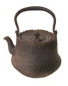 Japanese Antique Iron Tetsubin with Dragon Lid