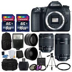 Canon EOS 70D Digital SLR Camera Full HD 1080p Video   EF-S 18-55mm F3.5-5.6 IS STM   55-250mm STM IS Lens   58mm 2x Lens   Wide Angle Lens   Auto Power Flash   Uv Filter Kit   24GB Accessory Bundle