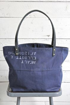 WWII era Pieced Canvas Tote bag - FORESTBOUND