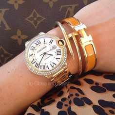 Cartier Balloon Watch & Cartier Bracelets - Up Close and Stylish
