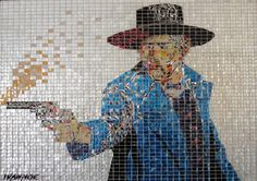 """Gunslinger,"" by Jeff Ivanhoe, made out of hand-cut tiles of aluminum soda cans."