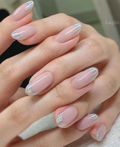 Cute Nail Art Design Ideas With Pretty & Creative Details : Holographic French Nails