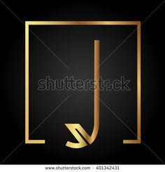 J initial logo, golden, square frame - stock vector