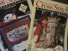 2 CROSS STITCH & COUNTRY CRAFTS Magazine Lot 1992 Christmas stocking SAMPLER #CrossStitch