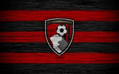 Download wallpapers Bournemouth, 4k, Premier League, logo, England, wooden texture, FC Bournemouth, soccer, football, Bournemouth FC