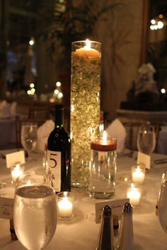 neat idea, to have a bottle of wine as the number of the table...