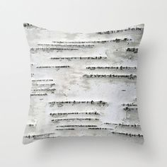 Birch Tree Bark White Black Gray Throw Pillow by BrookeRyanPhoto, $38.00