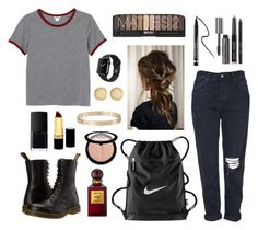 """""""8.11.15"""" by tararox27 ❤ liked on Polyvore featuring Monki, Topshop, NIKE, Dr. Martens, Tom Ford, NARS Cosmetics, Revlon, Clinique, Sephora Collection and Bobbi Brown Cosmetics"""