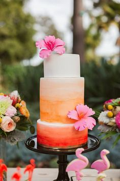 turly gorgeous ombre wedding cakes with orange style