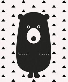 Bear nursery wall art- Printable art- Black and white kids room decor- Triangles… Black And White Wall Art, Black And White Baby, Cadeau Baby Shower, Baby Poster, White Kids Room, Motifs Animal, Nursery Artwork, Bear Nursery, Kids Room Design