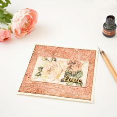 love  Dusty Pink Romantic Greeting Card with Victorian Roses