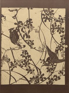 Motifs décoratifs tirés des pochoirs japonais / par Th. Lambert. 1909. Metropolitan Museum of Art, New York. Thomas J. Watson Library. Trade Catalogs. #stencils #japan #decorative #tradecatalog | A pair of graceful birds perched in a tree. Must be Springtime!