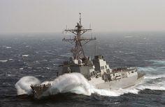Arleigh Burke-class destroyer in heavy seas