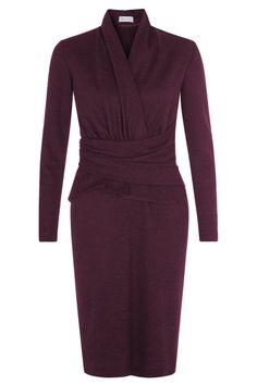 The Fold London - ARLINGTON DRESS HERRINGBONE BURGUNDY