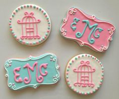 Birdcage and monogram cookies by Sugary Sweet