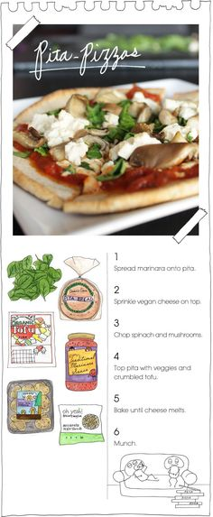 Pita pizza: any toppings- Get your tofu off my pizza. K thanks!