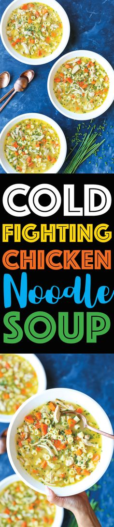 Cold Fighting Chicken Noodle Soup - The most soothing, comforting, cozy soup for the flu season! Quick/easy to make, you'll be feeling better in no time! by patrice Chicken Noodle Soup, Chicken Soup Recipes, Lunch Recipes, Cooking Recipes, Healthy Recipes, Sandwich Recipes, Easy Recipes, Chili Soup, Winter Soups