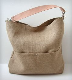 linen + leather tote, could make this using my madras tote tutorial: http://www.noodle-head.com/2011/06/summer-madras-tote-pattern.html