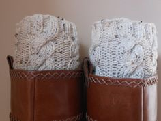 Hand Knitted Boot Cuffs Leg Warmers Cream Tweed. $26.00, via Etsy.