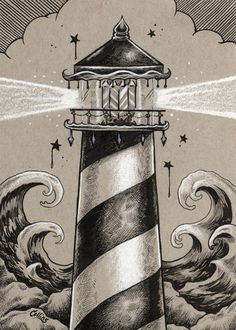 Read the full title Gray Lighthouse Nautical Fine Wall Art Print - by Bryan Collins