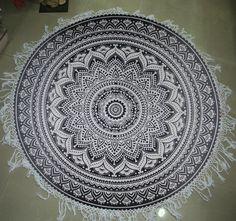New Handmade mandala Round Beach Hippie Yoga Mat Tapestry Beach, Mandala Tapestry, Beach Hippie, Art Deco Fashion, Handicraft, Beach Mat, Outdoor Blanket, Yoga, Fabric