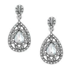 Jon Richard Navette surround crystal peardrop earring- at Debenhams.com £15
